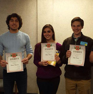 Ohio State Students hold certificates.