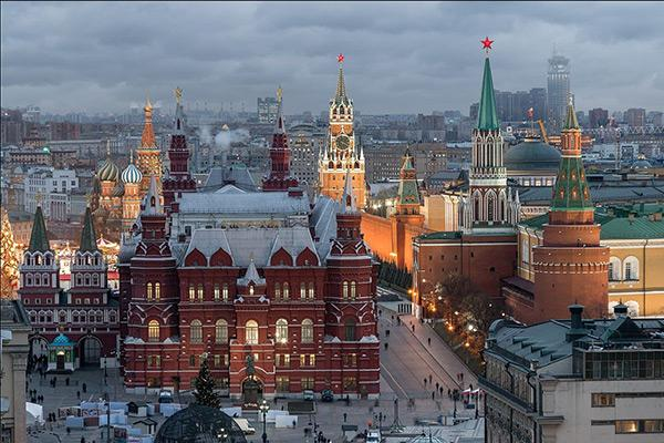 Red Square and Kremlin in Moscow, Russia in winter