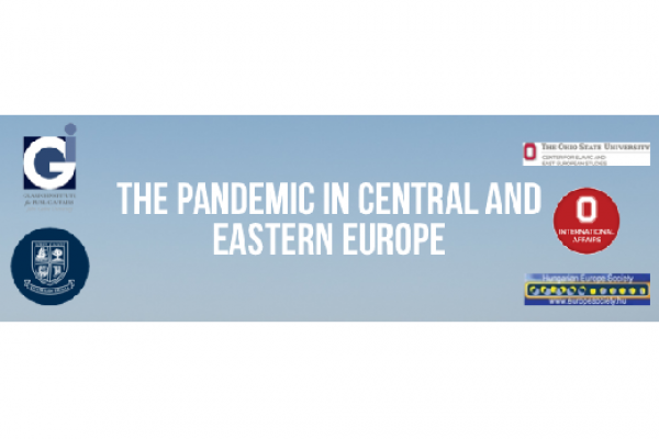 "graphic with text that reads ""The Pandemic in Central Europe"" with the logos of contributing institutions placed around it."