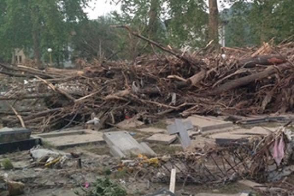 Debris from flood in a pile