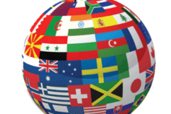 A round globe covered with images of flags of different countries