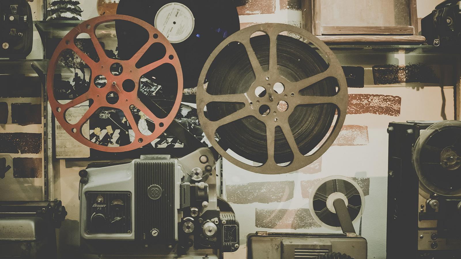 Film reels and a projector